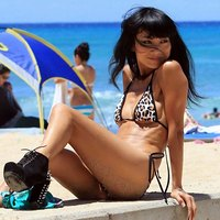 Bai Ling in a beach zone