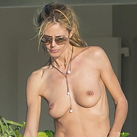 Heidi Klum Topless Bikini In St Barths For Christmas 2014