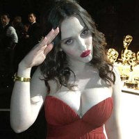 Kat Dennings Huge Cleavage At Emmy Awards