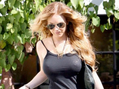 Lindsay Lohan in super hot see-through top!