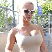 Sticking through nipples of Nicole Coco Austin