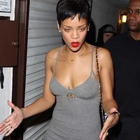 Little dress and short haircut for Rihanna
