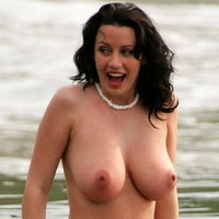 Sophie Howard gets watched at the beach